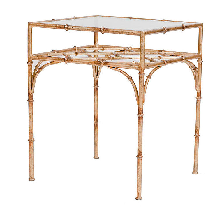 Incroyable Square Gold Bamboo Side Table