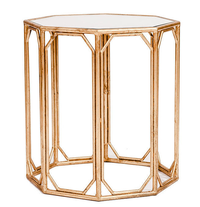 Gold Metal Octagon Side Table