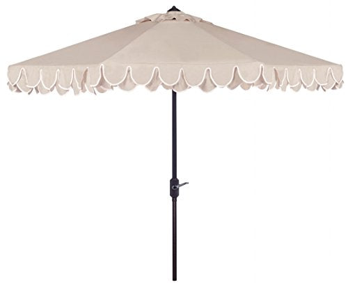 Beige/ White Umbrella with Stand
