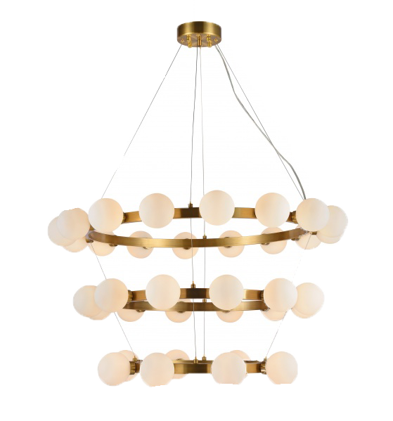 bauble chandelier, glass and gold chandelier, bauble, chandelier for rent