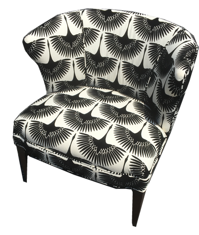 Anhinga Low Chair, black and white patterned chair, black and white bird pattern velvet chair, patterned black and white chair with black legs