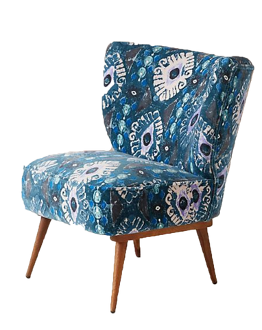 chair, chairs, chairs for rent, rental items, furniture for rent, event planning, ooh events, anthropologie blue patterned chair, blue chair, adina chair, blue chair wooden legs