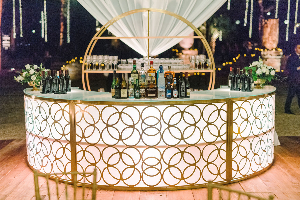 millenium sectional bar, gold and white art deco bar, art deco bar for rent, modern gold bar for rent, light up bar for rent, charleston event rentals, wedding rental, ooh events
