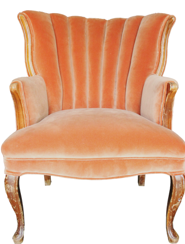 ari chair, orange chair, orange velvet chair, antique chair, orange armchair, armchair for rent