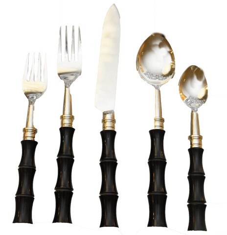 black laquer flatware, black flatware, black and silver flatware, dining room black flatware, event black flatware, polished, ooh events