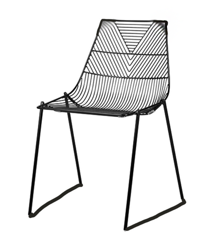 black linear metal dining chair, lucy chair, lucy dining chair, linear metal chair, ooh events