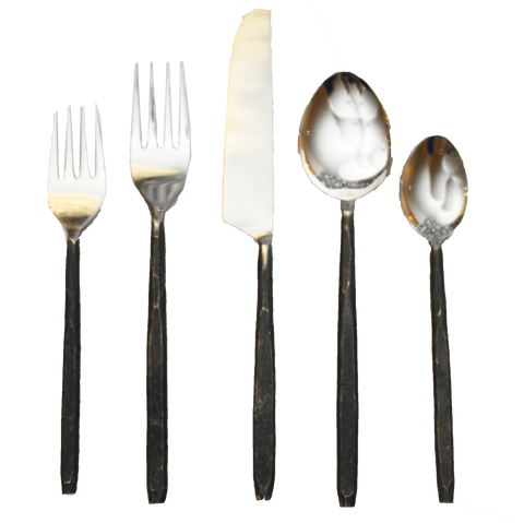 black smith flatware, black flatware, polished, ooh events, black knife, black spoon, black fork, black event flatware