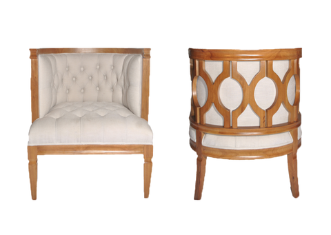 chair, chairs, chairs for rent, rental items, furniture for rent, event planning, ooh events, blythe chair, chair with wooden lattice and white fabric , Tufted upholstered fabric in white with decorative wood frame on back