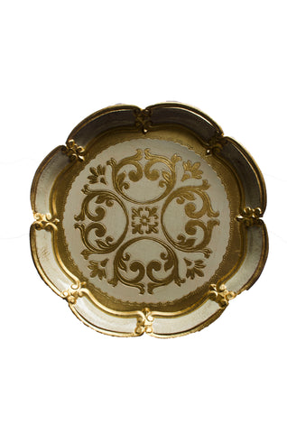 Gold Wooden Scalloped Edge Tray
