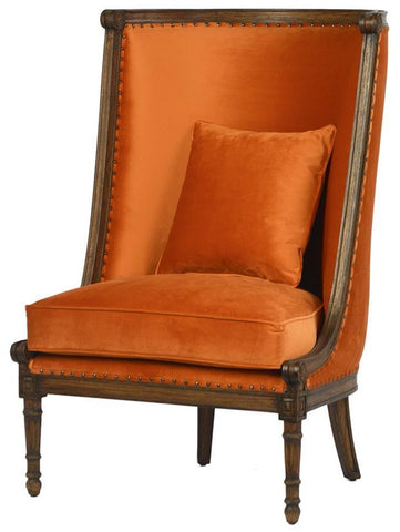 Cleopatra chair, orange chair, orange chair with wood trim, burnt orange chair