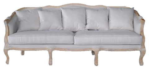 caroline sofa, neutral sofa, sofa with wooden legs and linen cushions