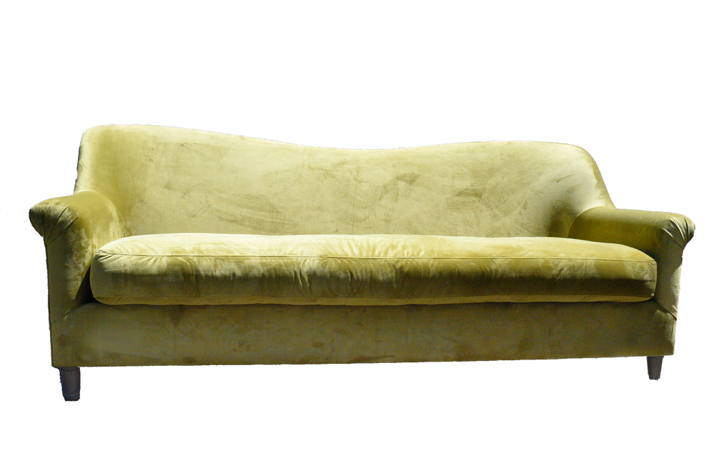chartreuse sofa, green sofa, green velvet sofa, green sofa for rent, lounge sofa, ooh events, charleston rentals