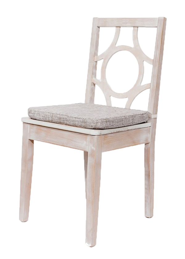 White Wash Circle Back Chair