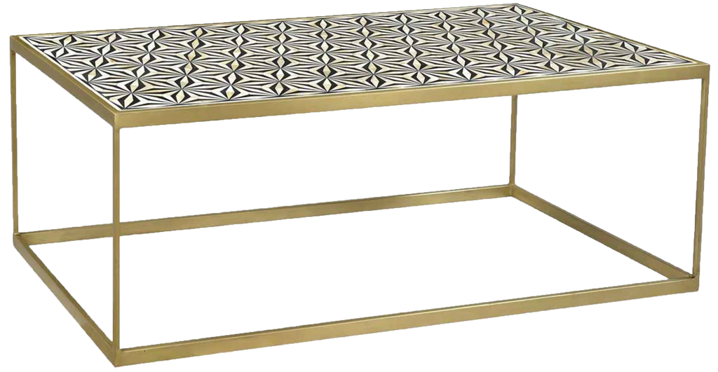 cocoa coffee table, gold and white and black pattern table, white and black pattern, coffee table for rent, event rentals, charleston rentals, ooh events