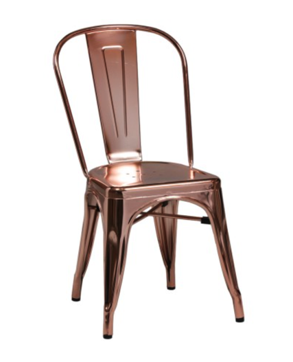 copper chair, copper cafe chair, cafe chairs, copper chair for rent
