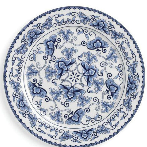 polished tabletop, polished, tabletop rentals, dishware, dishware rentals, plates, dishes, bowls, utensils, serving platters, china, charger, corsica charger, blue and white, blue and white charger