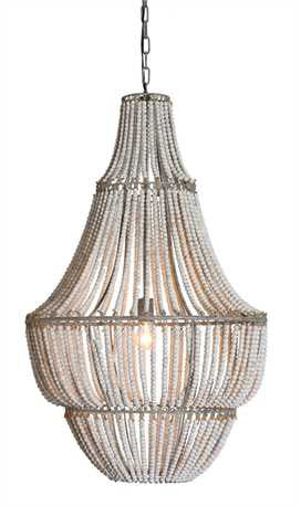 Metal/Wood Grey Beaded Chandelier