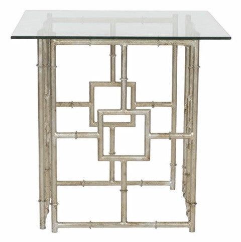 Iron and Glass Accent Table