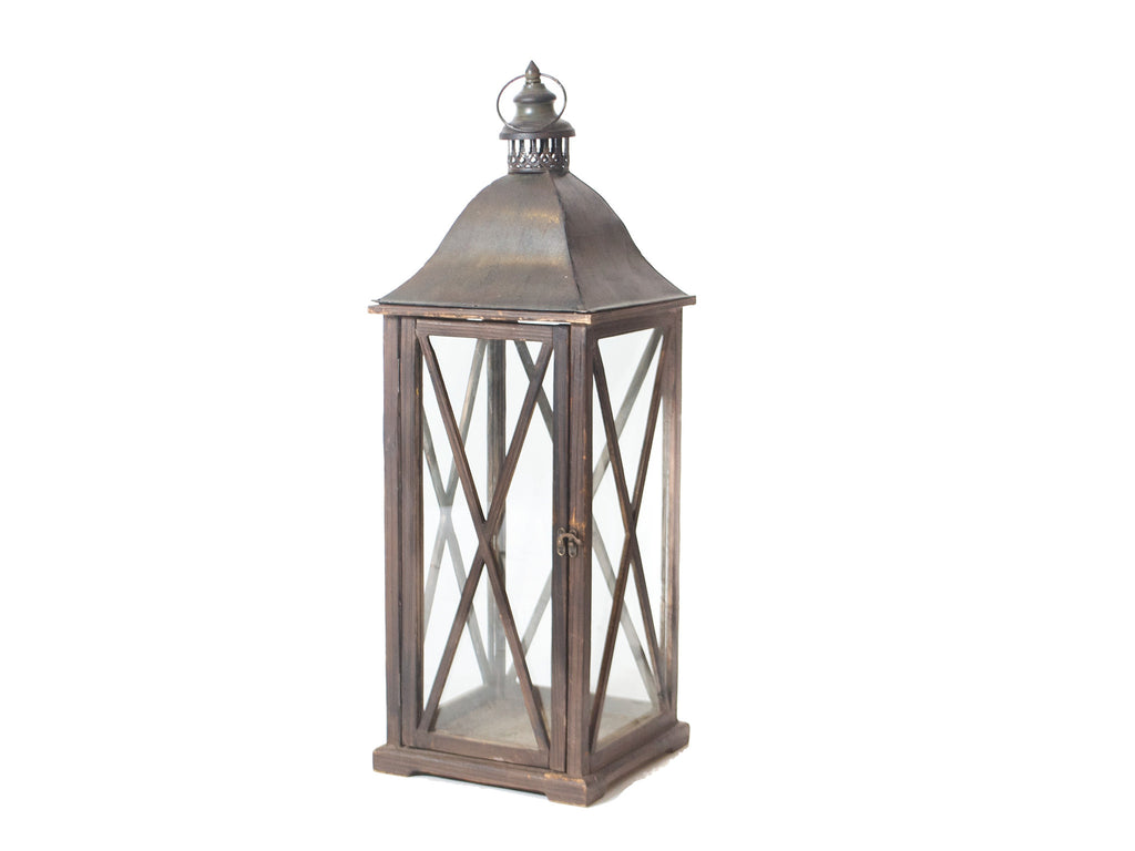 Dark Brown Wooden X Lantern