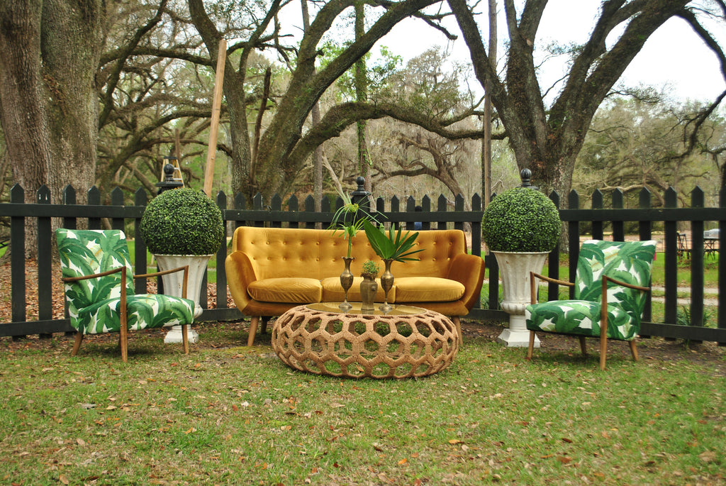 furniture rentals, ooh events, event rentals, wedding rentals, lounge, lounge rentals, banana leaf, banana leaf pattern, banana leaf chair, leaf, pattern, green, green banana leaf, modern, patterned chairs