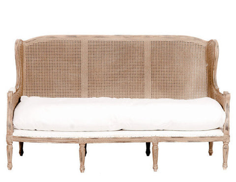 sofa, couch, sofa for rent, rental items, furniture for rent, event planning, ooh events, ooh events couch, ooh events sofa, neutral sofa, cane back sofa