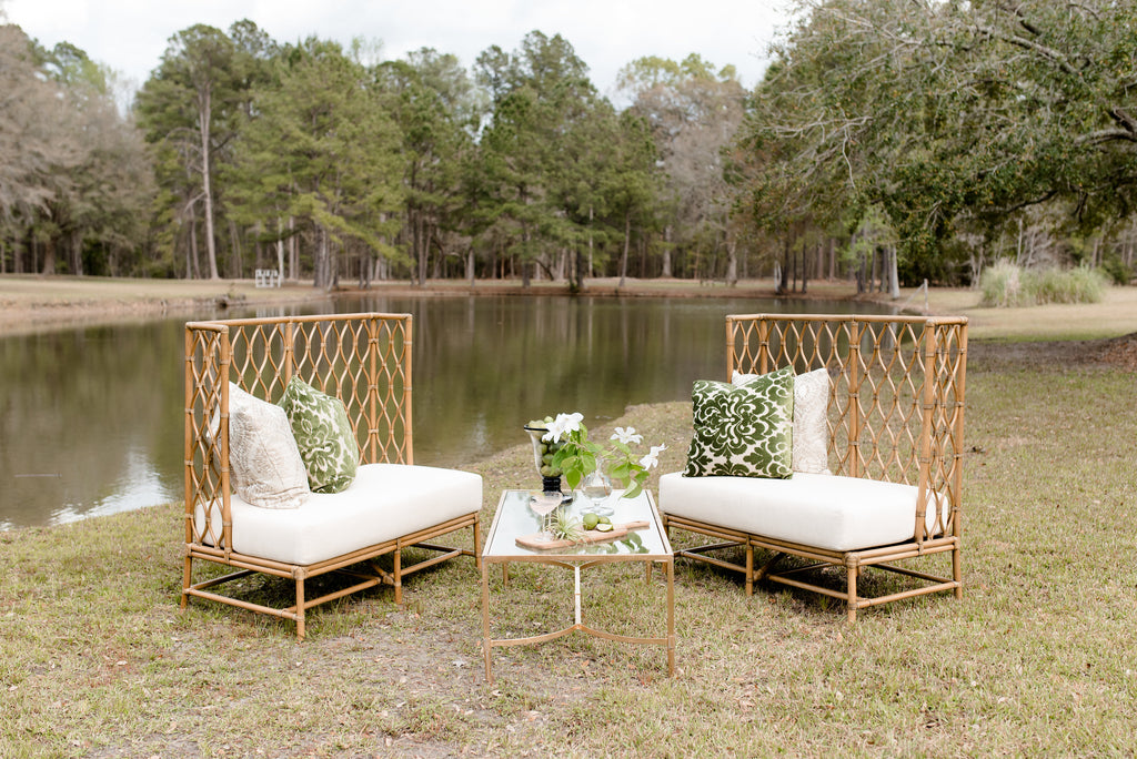 sofa, couch, sofa for rent, rental items, furniture for rent, event planning, ooh events, ooh events couch, ooh events sofa, charleston sc rentals, charleston wedding rentals, ambrose sofa, ambrose banquette sofa, banquette sofa, ambrose ooh, rattan sofa, high back rattan couch, ambrose couch, white couch