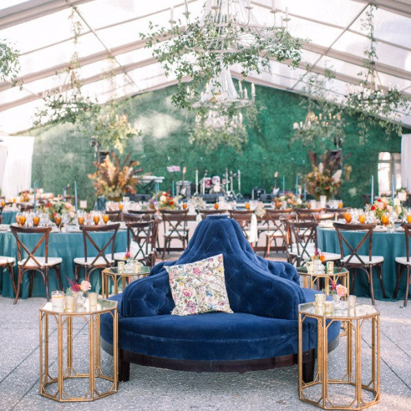 blue round couch, blue sofa, round sofa, circle sofa, blue sofa, circular sectional sofa, blue sectional sofa, ooh events, ooh events sofa rental, charleston rental
