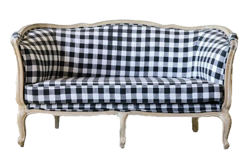 sofa, couch, sofa for rent, rental items, furniture for rent, event planning, ooh events, ooh events couch, Daisy Sofa, check pattern sofa, black and white sofa