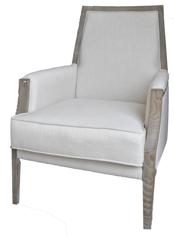 beige linen arm chair