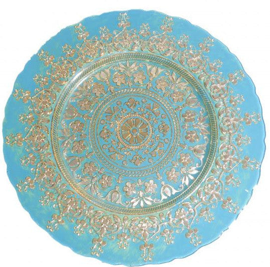 polished tabletop, polished, tabletop rentals, dishware, dishware rentals, plates, dishes, bowls, utensils, serving platters, china, teal and gold charger, charger, chargers, teal, turquoise charger, gold charger, Indian charger