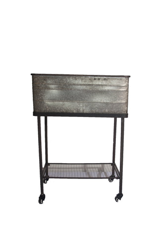 Galvanized Tub on Rolling Cart
