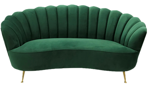 electra mermaid sofa, mermaid sofa, green sofa, green velvet sofa, green velvet sofa with brass legs, sofa for rent, charleston rentals, ooh events