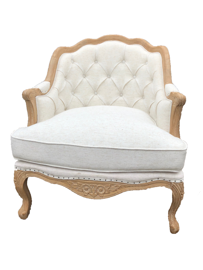 white linen chair with wood trim-emily chair-white linen chair for rent