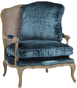 freida chair, blue chair, blue velvet, velvet, blue velvet chair, velvet chair, freida velvet chair, cane back chair with blue velvet cushion, cane back chair