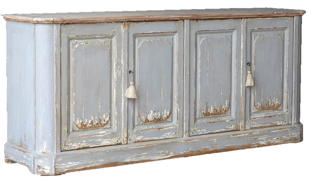 cream distressed sideboard with four doors and wood top