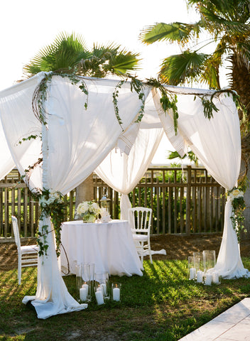 Custom White Fabric Chuppah