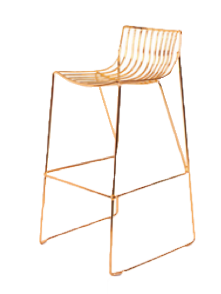 Gold Linear Metal Barstool