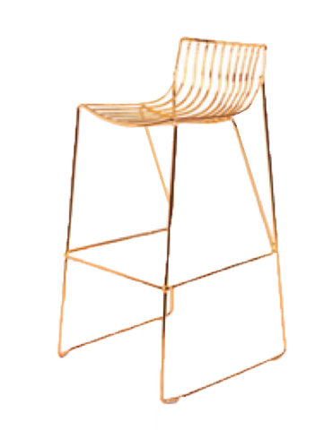 gold linear metal barstool, rose gold barstool, metal barstool, ooh events, barstool for rent, event rentals