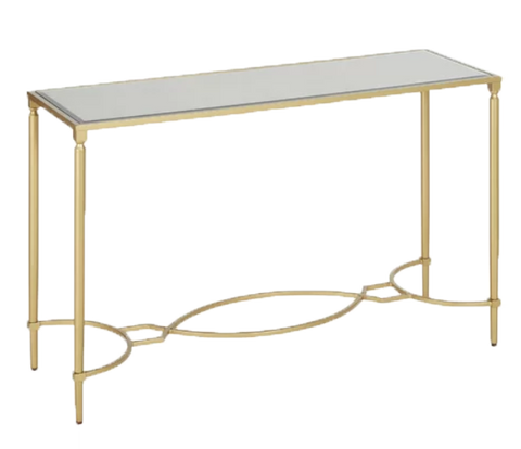 rosetta gold sofa table, gold and glass table, gold metal table for rent, ooh events, charleston event rental, event rental