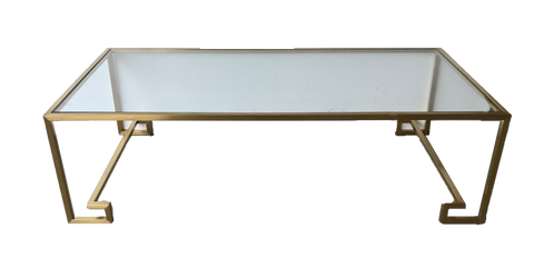 gold linear coffee table, modern coffee table, gold and glass modern coffee table, gold metal coffee table, table for rent, event rentals, charleston event rentals, ooh events