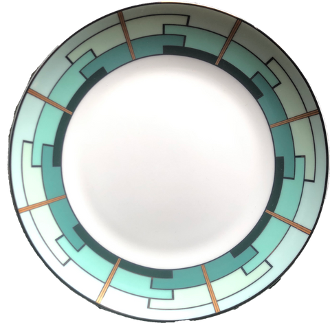 green and gold salad plate with art deco detail