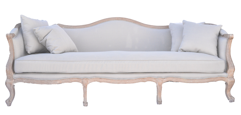 Hampton sofa, linen sofa, light neutal sofa with wooden trim, lounge sofa, event rentals, charleston event rentals, ooh events