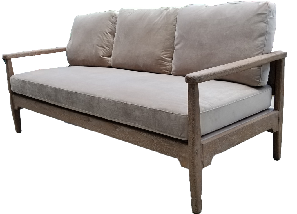 sofa, couch, sofa for rent, rental items, furniture for rent, event planning, ooh events, ooh events couch, ooh events sofa, velvet grey sofa, velvet sofa with brown wood accents, hazel sofa, event rentals charleston