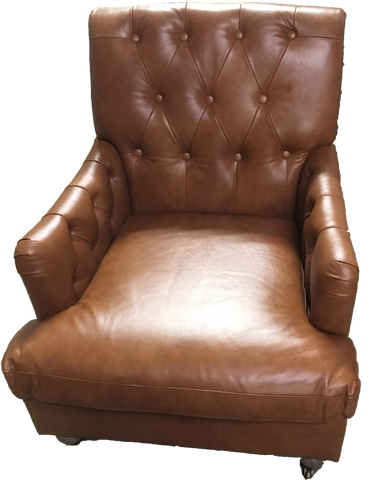 jackson leather chair, leather chair, jackson chair, brown leather chair with tufts