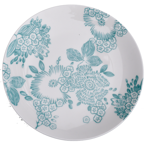 jardin aqua salad plate-salad plate with flowers and vines