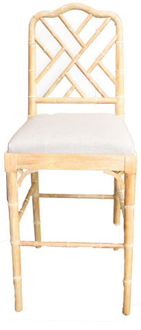 jill barstool, bamboo linen barstool, wooden and linen barstool for rent, charleston event rentals, event rentals, ooh events