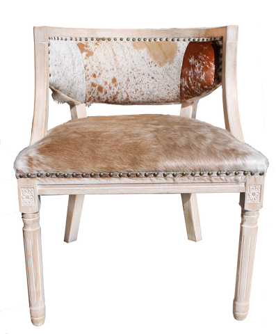 Justin Cowhide Chair, Chair with Cowhide seat, cowhide seat