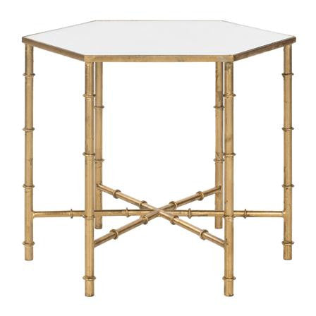 rentals, table rentals, coffee table, coffee table for rent, coffee table, side table for rent, rental tables, kerri gold faux bamboo table, bamboo gold table, gold faux bamboo