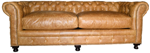 light tan leather chesterfield sofa with two cushions, tufted on back