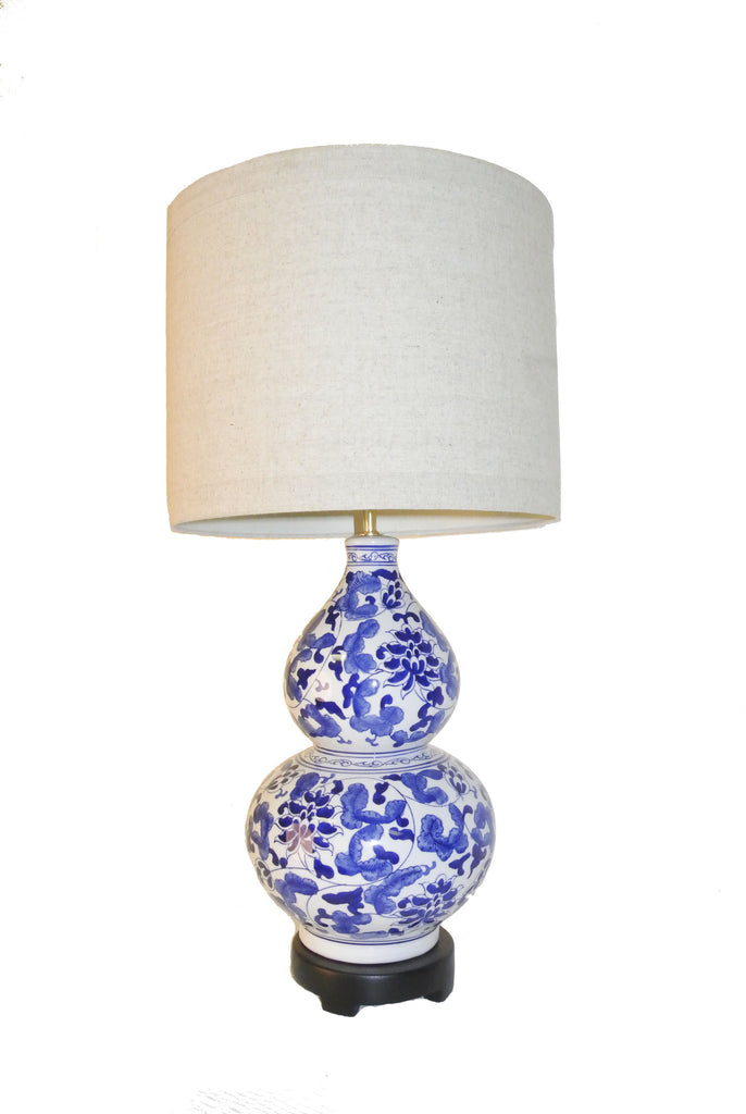 Blue and White Oriental Lamp